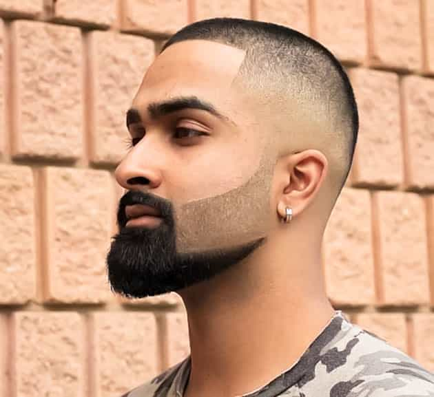 shade and curved beard style