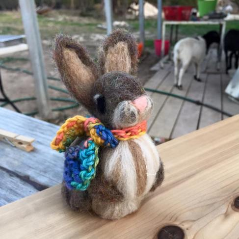 Felted Bunny Classes offered. (Bow is Hand dyed Worsted in Vibrante!)
