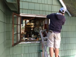 Ariel Biggerstaff prepping and opening our old windows!