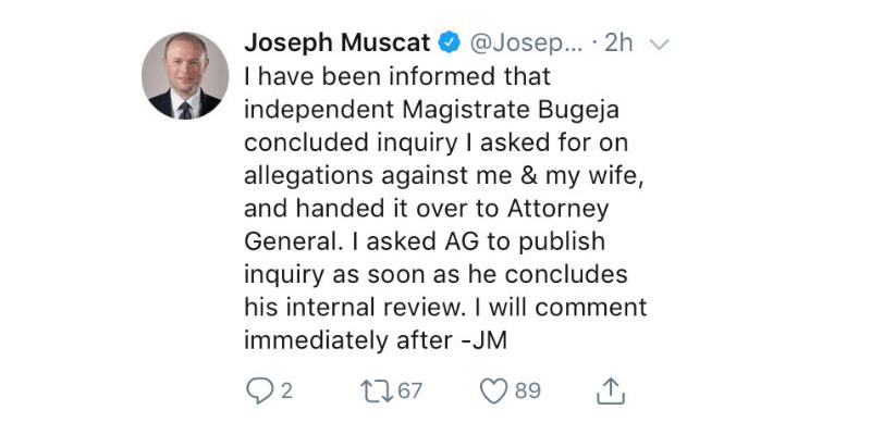 Joseph Muscat Twitter egrant