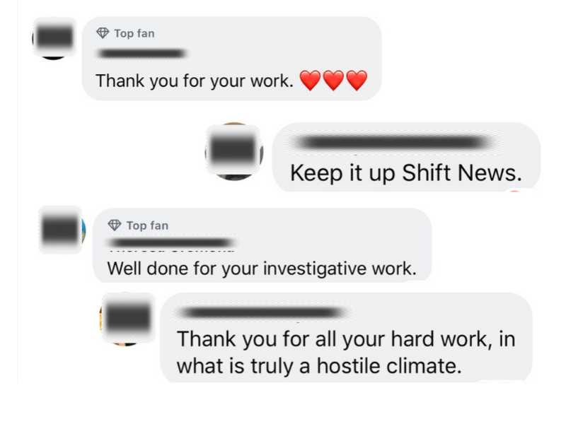 Readers comments on Facebook