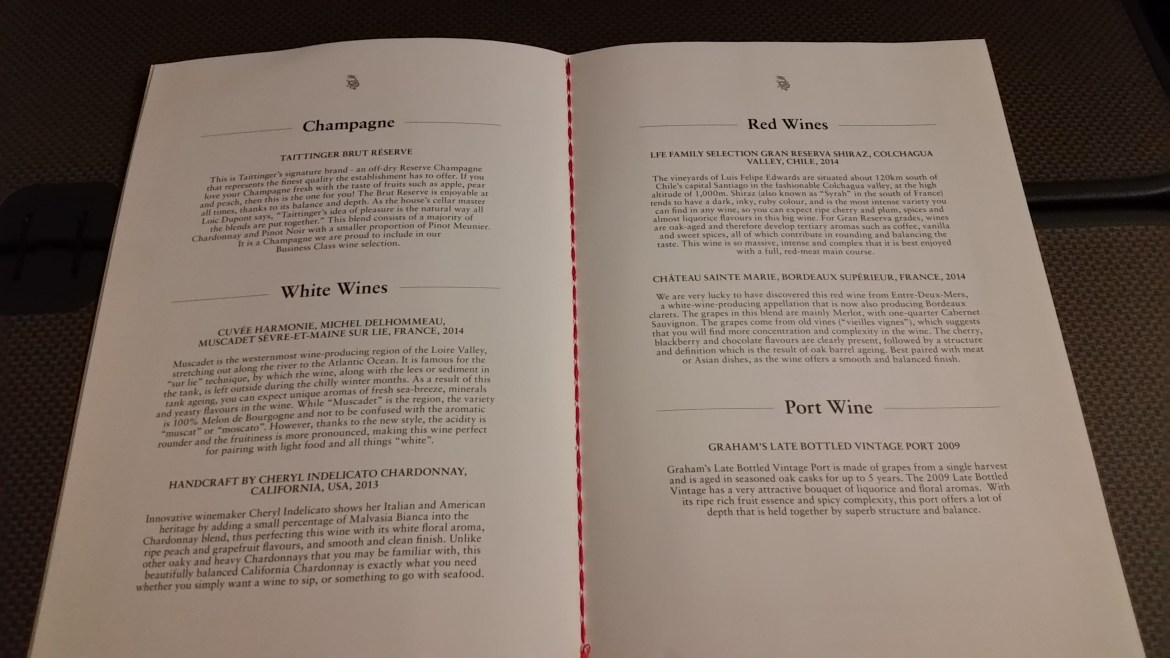 Dragonair Menu Wine
