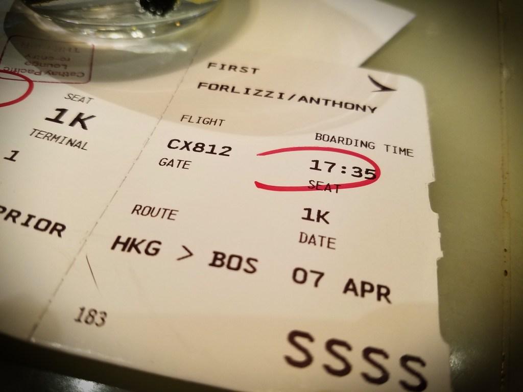Boarding pass from Hong Kong to Boston.