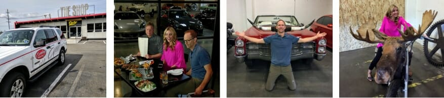 The Evening Magazine crew enjoyed a visit to The Shop, eating great food at Derby and posing with a classic Cadillac and Macklemore's moose-cycle