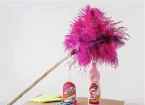 Pink feather duster with two cleaning supplies below it.