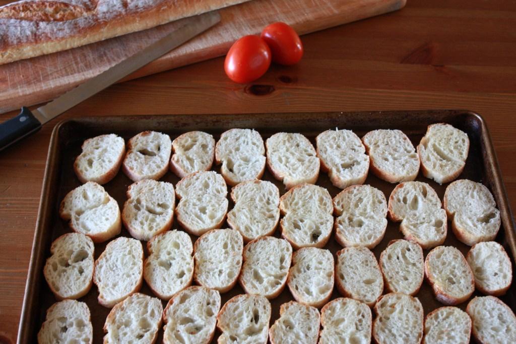 Baguette sliced & ready for toasting for Easy Tomato Basil Bruschetta