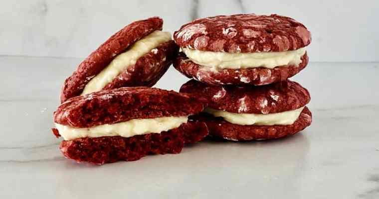 Red Velvet Crinkle Cookie Sandwiches