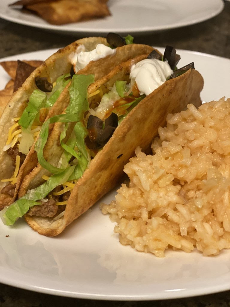 Easy Restaurant Style Mexican Rice and tacos