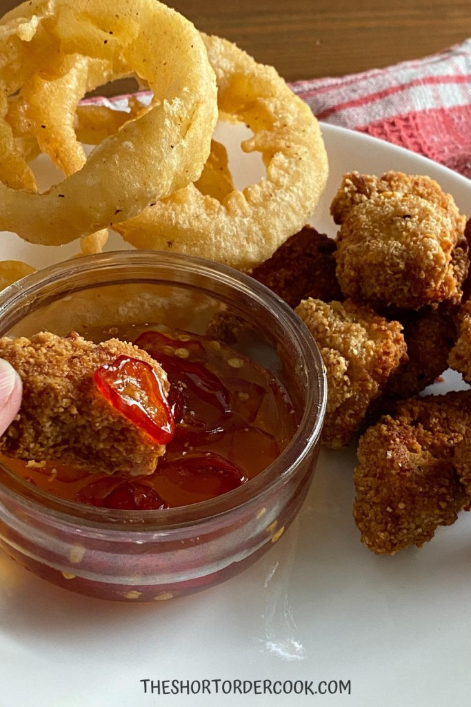 Hot Honey goes with onion rings and chicken nuggets