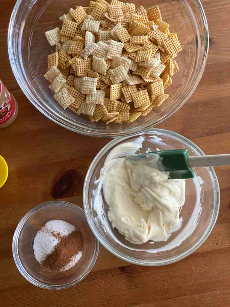 Melt the white chocolate chips - Snickerdoodle Muddy Buddies
