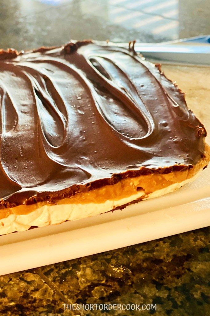 Homemade Snickers Bars ready to cut