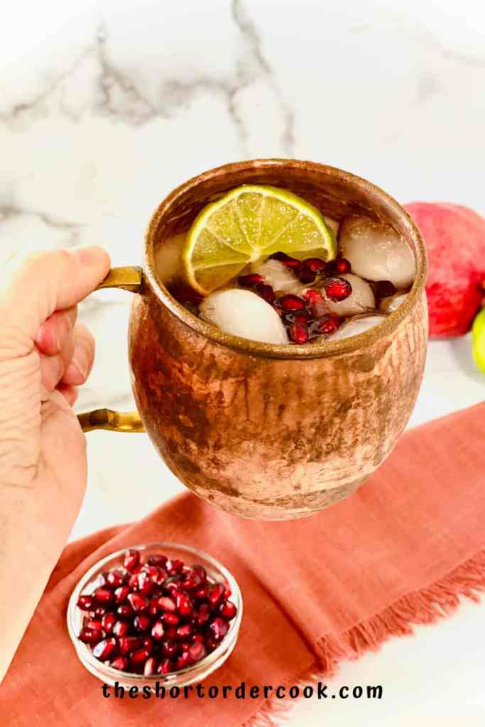 Best Pomegranate Moscow Mule hand holding mug