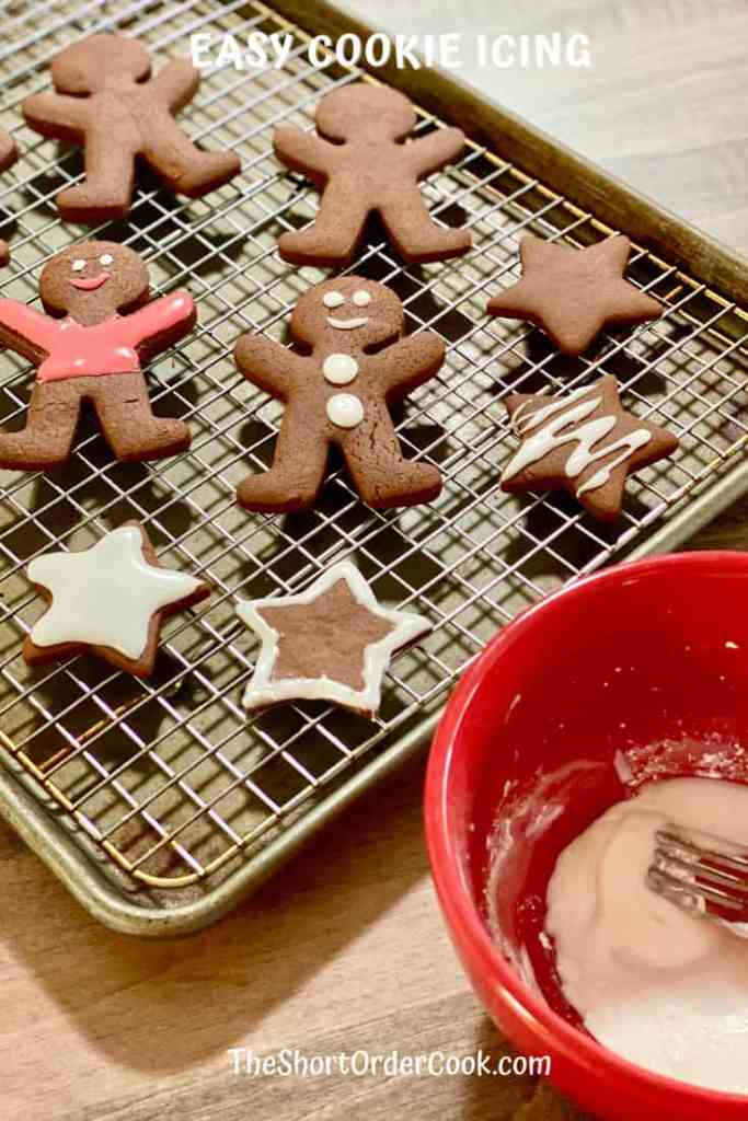 Easy Cookie Icing decorated on a cooling rack