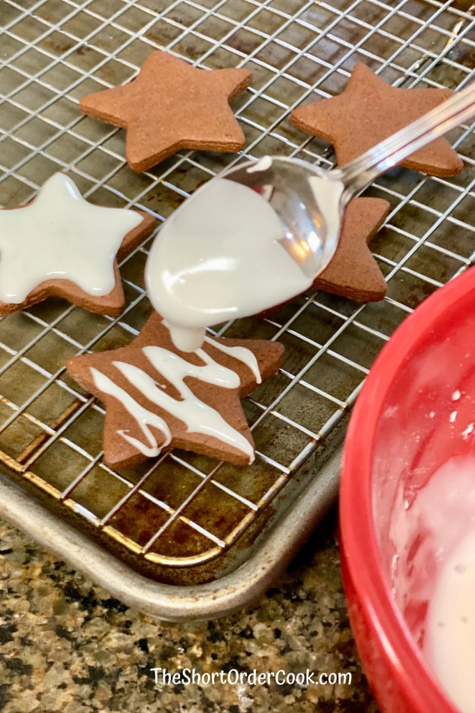 Easy Cookie Icing drizzle icing on cookies
