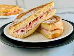 Keto Monte Cristo Sandwich featured two plates