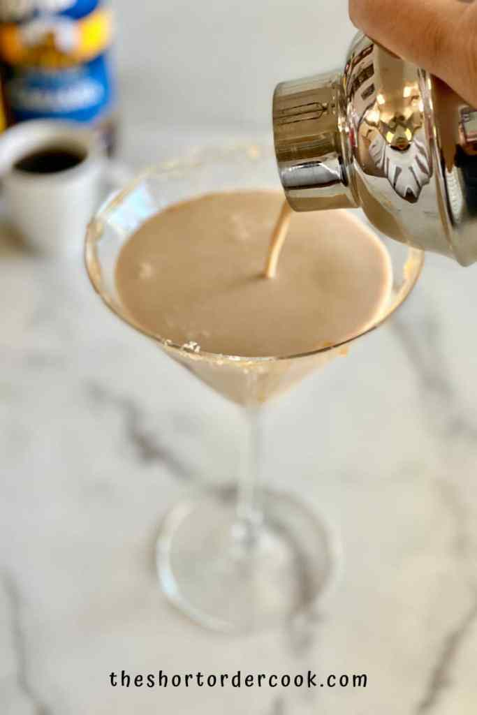 Salted Caramel Espresso Martini pouring from martini shaker