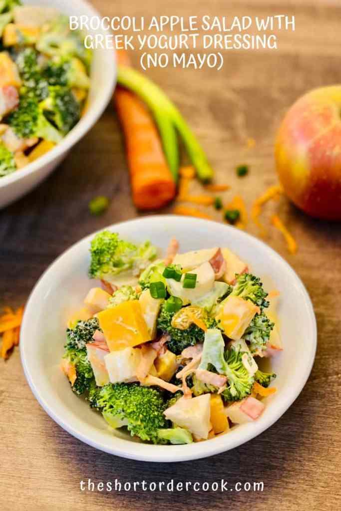 Broccoli Apple Salad with Greek Yogurt Dressing (no mayo) ready in a bowl