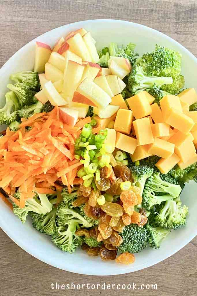 Broccoli Apple Salad with Greek Yogurt Dressing (no mayo) ingredients in serving bowl