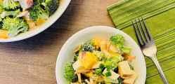 Broccoli Apple Salad with Greek Yogurt Dressing (no mayo) overhead featured