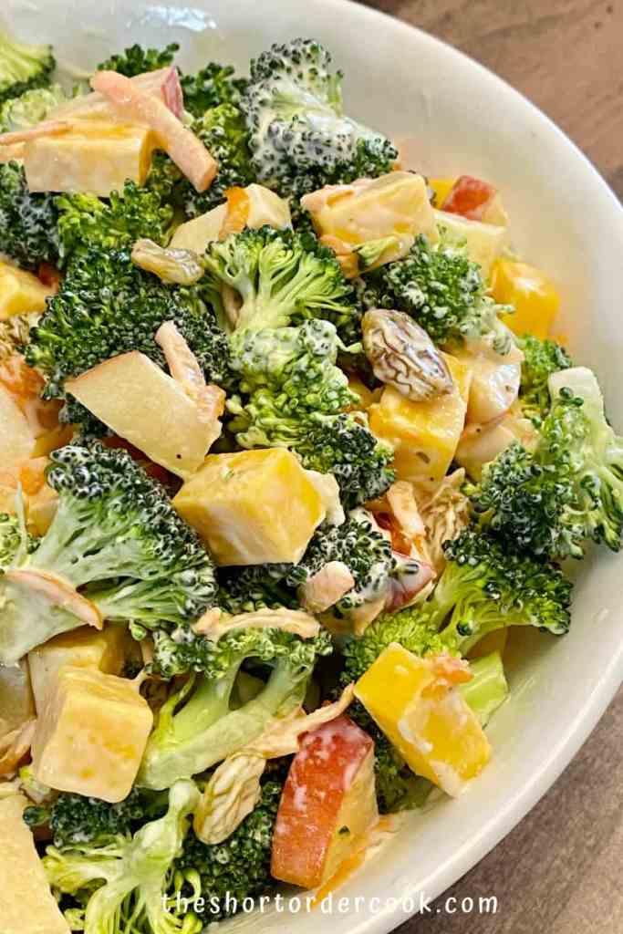 Broccoli Apple Salad with Greek Yogurt Dressing (no mayo) ready in a serving bowl