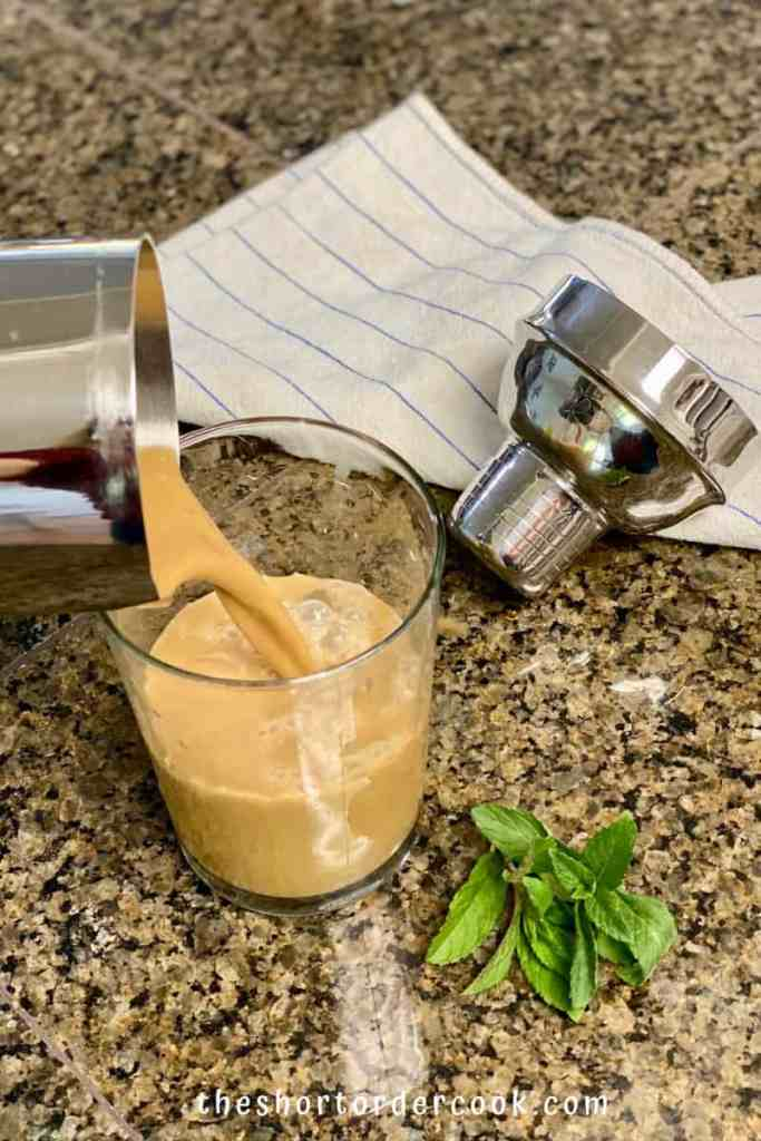 Mint Mojito Iced Coffee (Philz copycat)pour from shaker to glass