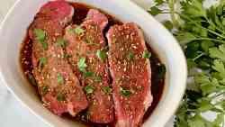 Keto Steak Marinade featured overhead recipe card image