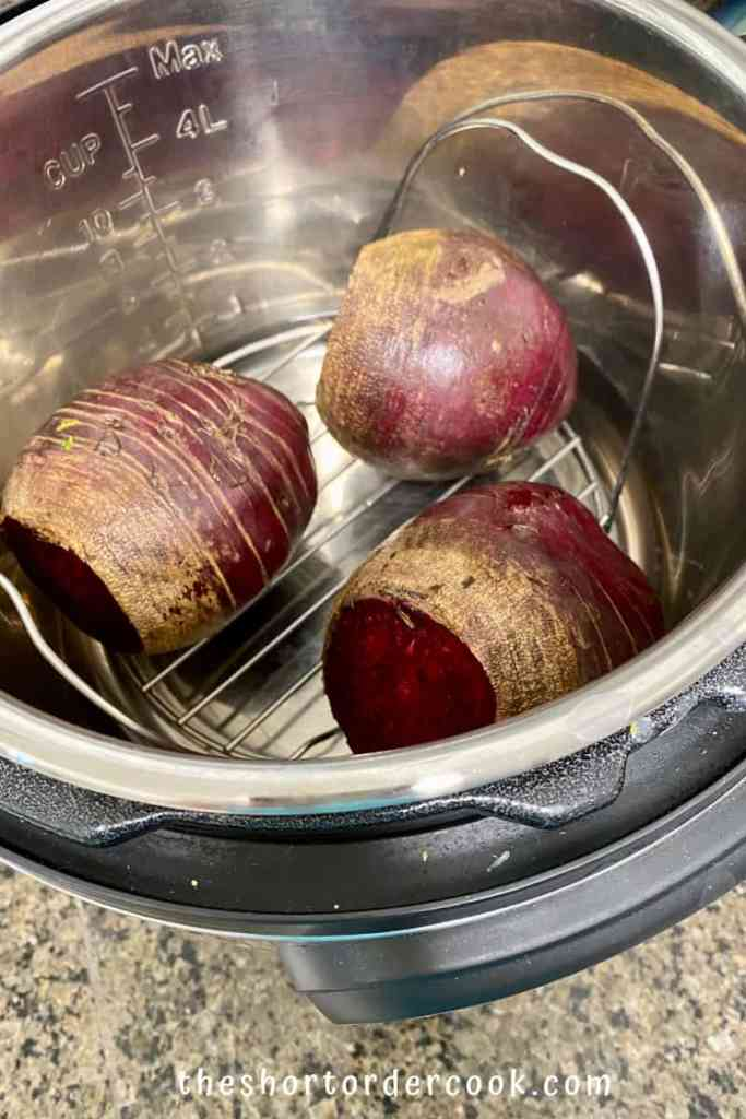 Instant Pot Steamed Whole Beets in the insert