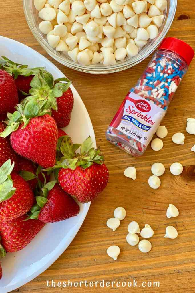 Red, White, & Blue Strawberries for 4th of July ingredients