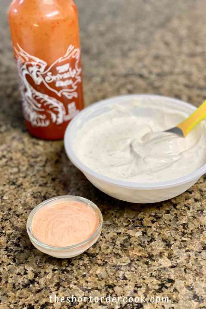 Dips for Sweet Potato Fries 3 ingredients siracha and sour cream and ranch seasoning