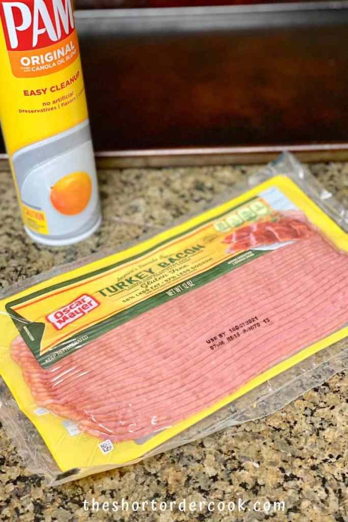 How to Cook Turkey Bacon in the Oven turkey bacon can of pam and sheet pan