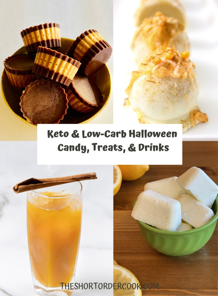 Keto & Low-Carb Halloween Candy, Treats, & Drinks PIN four recipe images for keto peanut butter cups, pumpki spice truffles, butter beer and lemon fat bombs