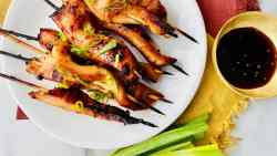 Teriyaki Chicken on a Stick featured plated with green onions and teriyaki dipping