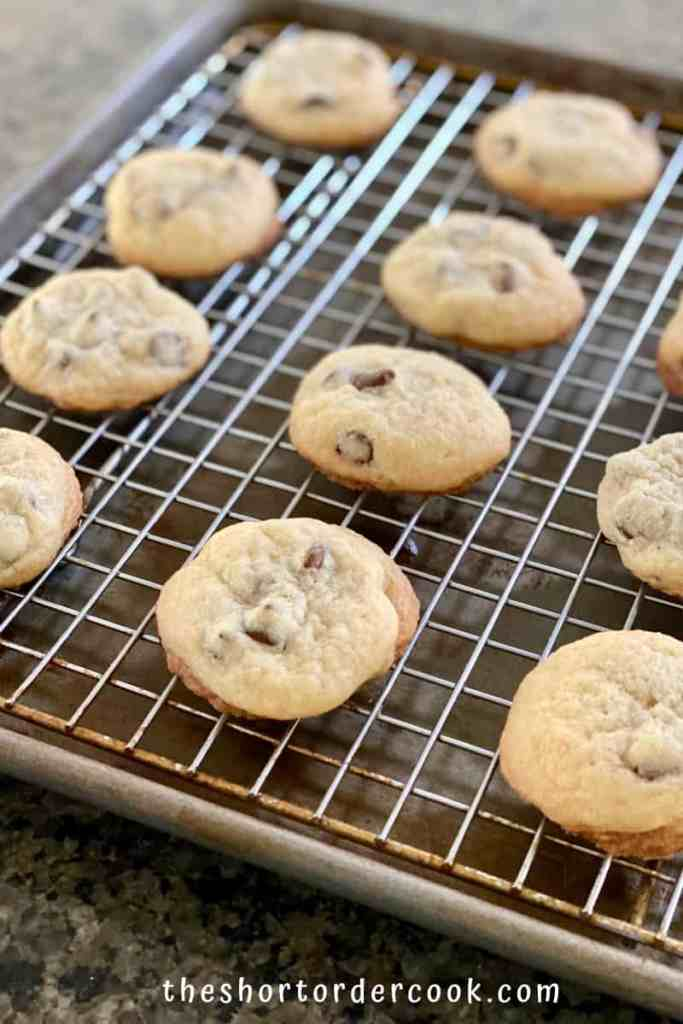 Chocolate Chip Cookies without Brown Sugar cookies cooling on a baking rack