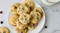 Chocolate Chip Cookies without Brown Sugar featured overhead of a plate of cookies and a glass of milk
