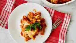 Pasta al Forno (Baked Pasta) featured overhead plate for recipe card