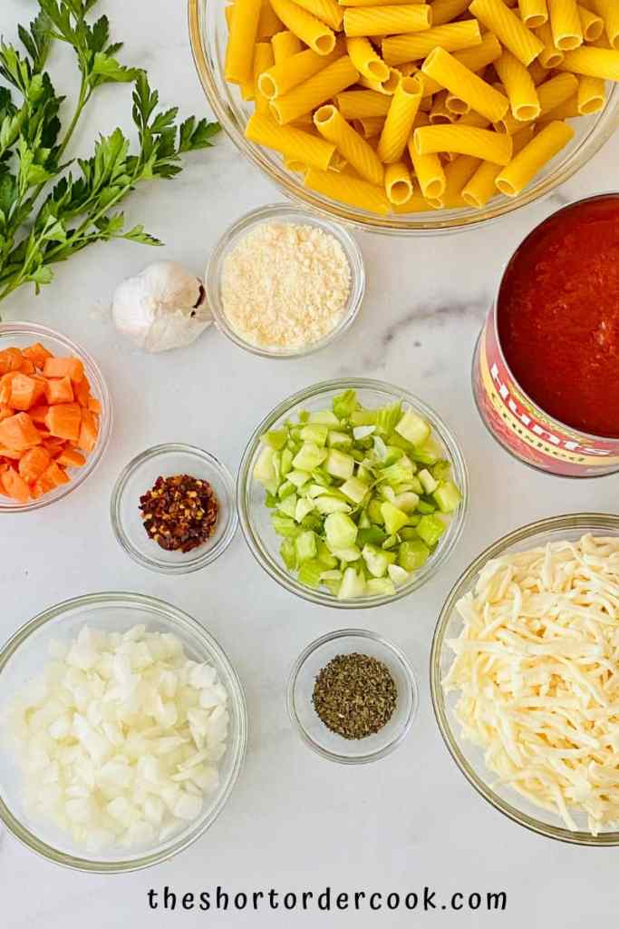 Pasta al Forno (Baked Pasta) ingredients in bowls