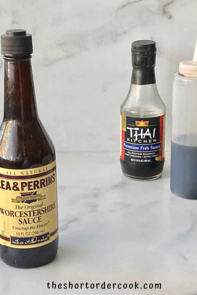 Substitute for Worcestershire Sauce bottles on a table