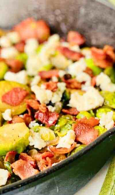 Caramelized Brussel Sprouts with Brown Sugar, Bacon, & Blue Cheese