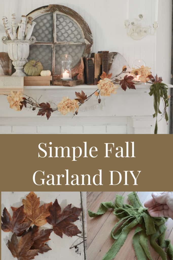 blog hop 440 Simple-fall-garland-683x1024 janetclarkathome a fall colored leaf garliand hanging on a white mantel