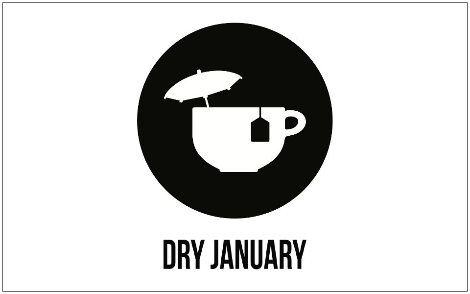 Mug of tea with cocktail umbrella: Dry January