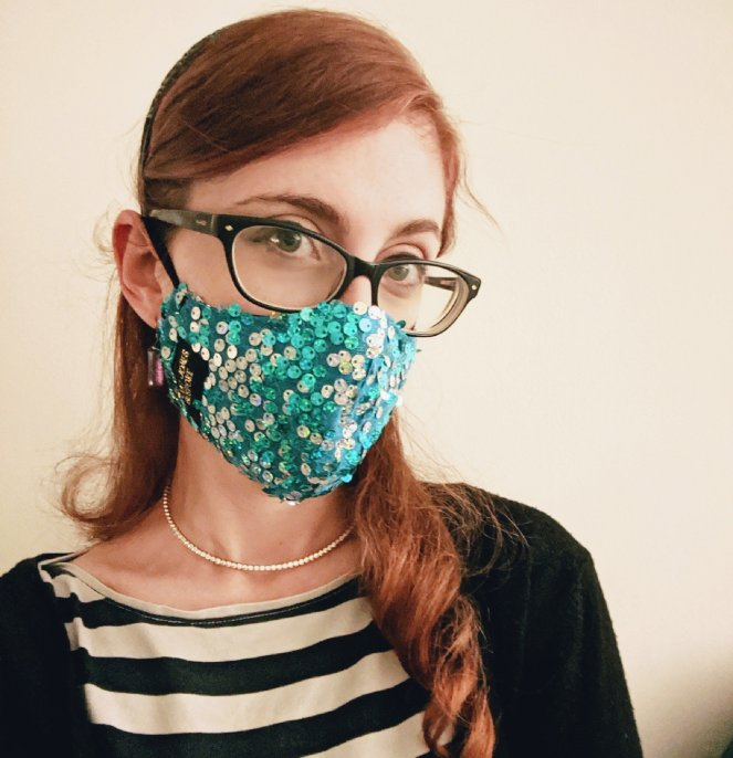 wearing a sparkly sequin face mask at hospital during the coronavirus lockdown 2020