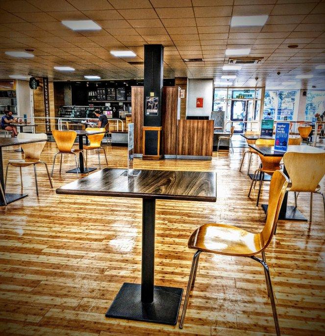 hospital dining hall during the coronavirus lockdown 2020