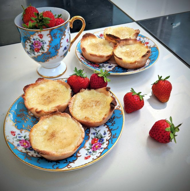 gluten free portuguese custard tarts with strawberries pasteis de nata belem the sickly mama blog tea
