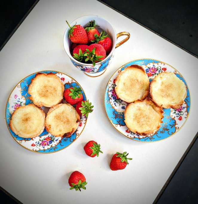 portuguese custard tarts with strawberries and tea the sickly mama blog
