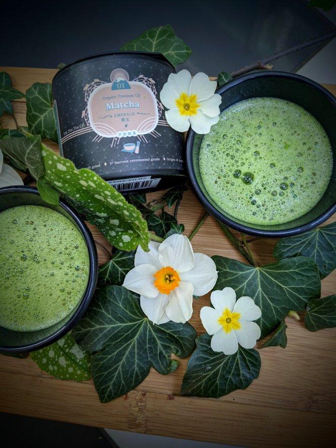 organic premium uji matcha tea and teacups