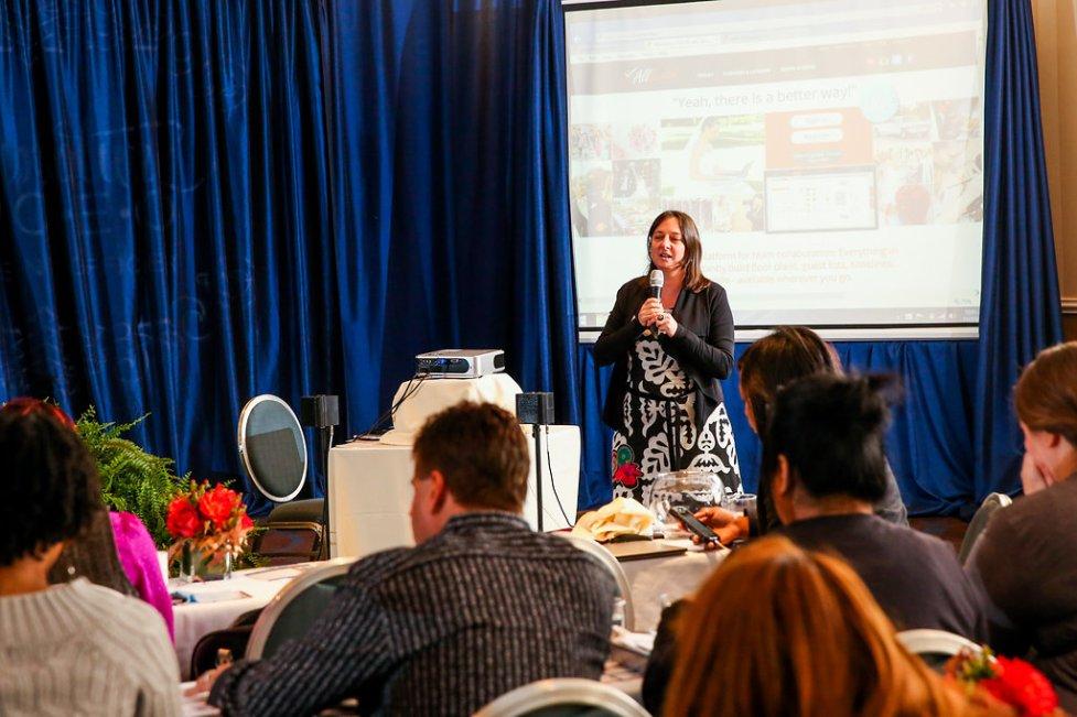 Speaker, Sandy Hammer of AllSeated discussing their software program