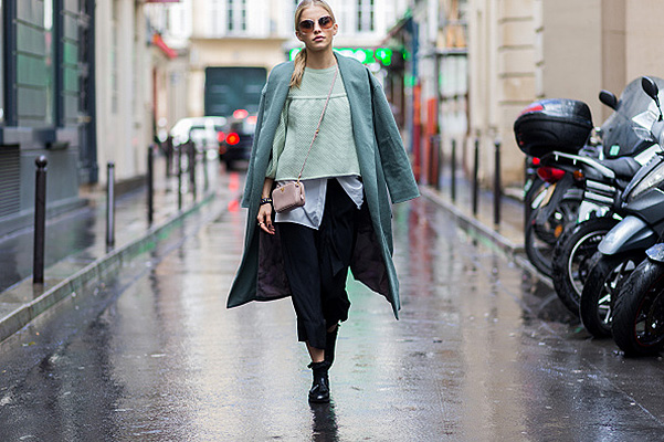 PARIS, FRANCE - OCTOBER 6: Caroline Daur wearing shoes and bag Zara, shirt and coat Holly Ghost and sweater Elisabetta Franchi during the Paris Fashion Week Womenswear Spring/Summer 2016 on Oktober 6, 2015 in Paris, France. (Photo by Christian Vierig/Getty Images)