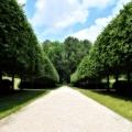 The main path in the gardens. In the far end is the water fountain. Edith Wharton Estate & Gardens.  Lenox, MA