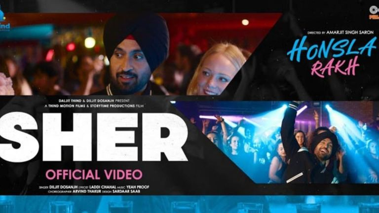 Diljit Dosanjh 'SHER' song from 'Honsla Rakh' out now. Shehnaaz Gill beating up Diljit Dosanjh in a video went viral as the cast promote their upcoming movie in London.