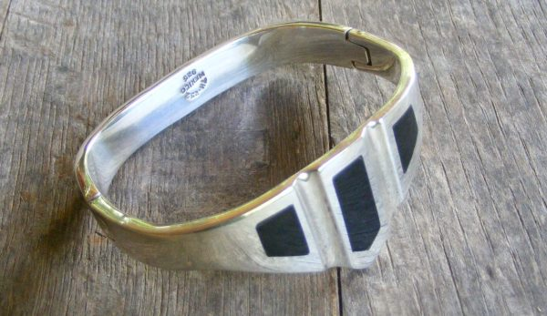 Black Inlay Bracelet – Vintage Mexican